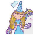 cute magic princess cartoon vector image