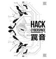cyberpunk futuristic poster with robot head tech vector image vector image