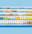 dairy products display on shelf in supermarket vector image vector image