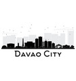 davao city skyline black and white silhouette vector image vector image