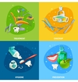 Dentist 4 Flat Icons Square Banner vector image vector image