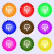 Dislike icon sign A set of nine different colored vector image