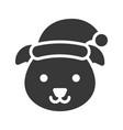 dog wearing santa hat silhouette icon design vector image