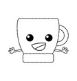dotted shape happy coffee cup kawaii with arms vector image vector image