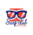 extreme surfing club logo windsurfing retro badge vector image vector image