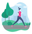 girl running in park healthy lifestyle concept vector image