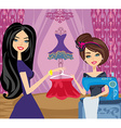 girl with sewing machine and elegant client vector image vector image