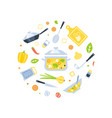 healthy cooking seamless pattern round shape vector image vector image