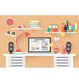 Home office desk - flat design long shadow work vector image