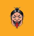 japanese female geisha with snake tongue vector image