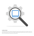 laptop icon search glass with gear symbol icon vector image