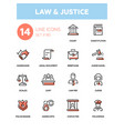law and justice - line design icons set vector image vector image