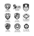 lion logo design set design element for poster vector image