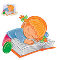 little girl reading a book and falling vector image