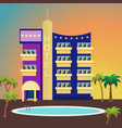 luxurious hotel on a colorful background vector image vector image