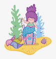 mermaid woman in the coffer with shells and vector image vector image