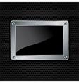 Metallic frame with screws on abstract metallic ba vector image