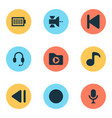 music icons set with satellite dossier record vector image vector image
