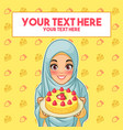 muslim woman holding a plate of dessert vector image vector image