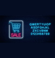 neon glowing sale sign with shopping cart and vector image vector image