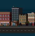 night city street with old building apartments vector image vector image