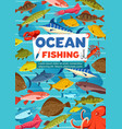 ocean fishing sport fish and octopus vector image vector image