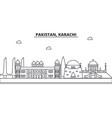 pakistan karachi architecture line skyline vector image vector image