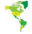 political map of americas in four shades of green vector image vector image