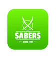 saber icon green vector image vector image