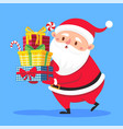 santa claus carry gifts stack christmas gift box vector image