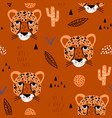 seamless african pattern with cheteah heads jangle vector image