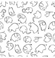 seamless pattern with stylized elephants vector image vector image
