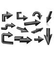 set of black arrows shiny 3d web icons vector image vector image