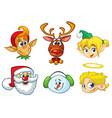 set of cartoon christmas characters vector image