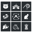 Set of Cat Circus Icons Kitty Tent Whip vector image vector image