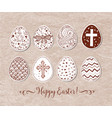 set of hand-drawn ornated easter eggs on vintage vector image vector image