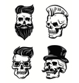 set of skull vector image