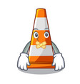 silent on traffic cone against mascot argaet vector image vector image