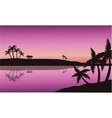Silhouette of palm in seashore vector image vector image