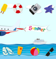 Summer theme with plane and other objects