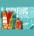 surfing retro poster on blue wooden background vector image vector image
