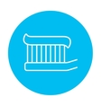 Toothbrush with toothpaste line icon vector image vector image