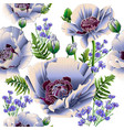 white poppies and cornflowers seamless background vector image vector image