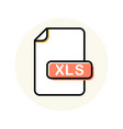 xls file format extension color line icon vector image vector image