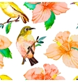 Tropical birds and flowers White-eye bird and vector image