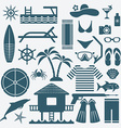 seaside holiday icons set vector image