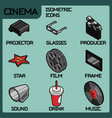 cinema color outline isometric icons vector image