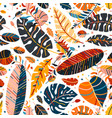 a tropical seamless with leaves pattern vector image vector image
