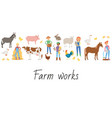 agricultural work and life on farm cartoon vector image vector image
