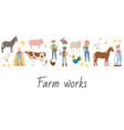 agricultural work and life on farm cartoon vector image
